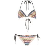 Neckholder-Bikini mit Wellenkanten