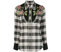 floral embroidered tartan shirt