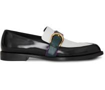 Colour Block Leather Monk Shoes