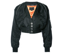 V-neck cropped bomber jacket