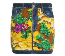 Hawaiian print denim skirt