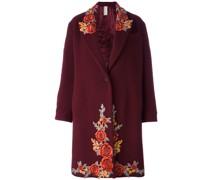 Einreihiger Mantel mit Blumenstickerei
