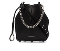black drawstring fastened structured bucket bag