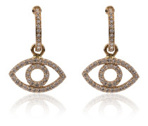 18k yellow gold empty eye diamond earrings