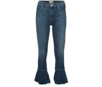 ruffled hem cropped jeans