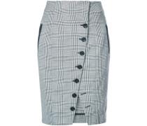 plaid buttoned pencil skirt