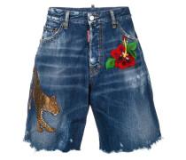 embroidered frayed denim shorts