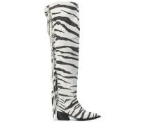 Overknee-Stiefel mit Zebra-Print