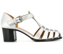 Metallic-Sandalen mit Blockabsatz