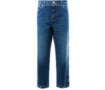 Cropped-Boyfriend-Jeans mit weitem Bein
