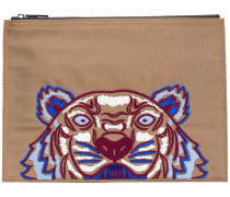 Clutch mit Tiger-Stickerei
