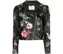Bestickte Jacke mit floraler Musterung