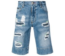 Jeans-Bermudas im Destroyed-Look