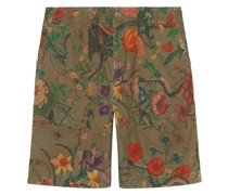 Flora Snake print cotton shorts