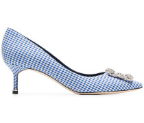 white and navy Hangisi 50 gingham cotton pumps