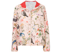 flora and fauna print hooded jacket