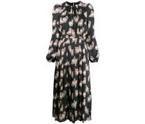 Langes Kleid mit Kätzchen-Print