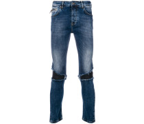 distressed biker panel slim fit jeans