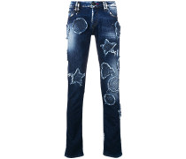 Jeans mit Distressed-Patches