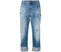 Gekürzte Distressed-Jeans
