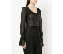 sheer sleeve corset bodice top