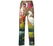 printed straight leg trousers