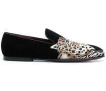 Loafer mit Leopardenstickerei