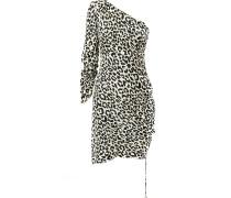 Einschultriges Kleid mit Leopardenmuster