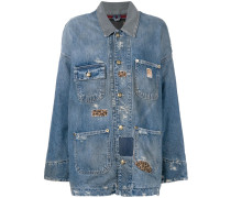 Oversized-Jeansjacke in Distressed-Optik