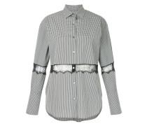 lace insert gingham shirt