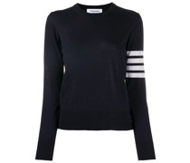 striped-sleeve merino-wool knit jumper