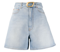 belted wide-leg denim shorts