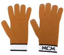 Gestrickte Handschuhe mit Logo