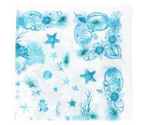 Ausgefranster Schal mit Meerestier-Print