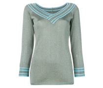 metallic knitted pullover