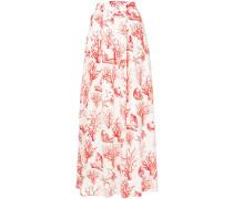 coral print full skirt