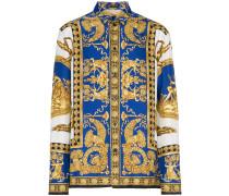 blue baroque print silk shirt - Unavailable