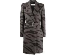 tiger-print belted coat