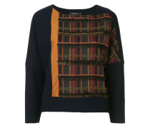 Pullover mit Tweed-Besatz