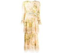 tiered floral print midi dress