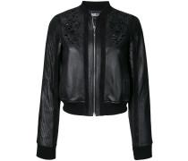 embossed detail leather bomber jacket