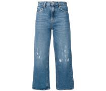 Wine wide leg cropped jeans