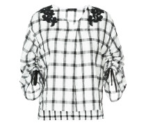 check flared blouse