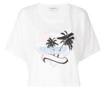Cropped-T-Shirt mit Palmen-Print