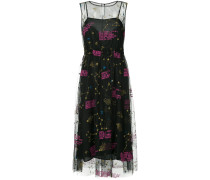 zodiac-embroidered mesh midi dress