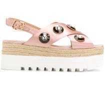 Flatform-Sandalen mit Kristallen