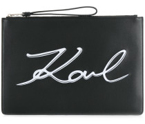 front logo printed clutch bag