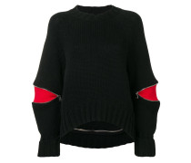 zipped sleeve jumper