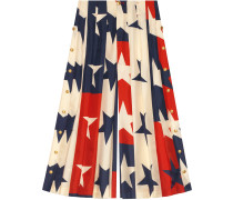 Star pattern silk pleated pant