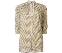 Gestreifte Bluse mit V-Ausschnitt